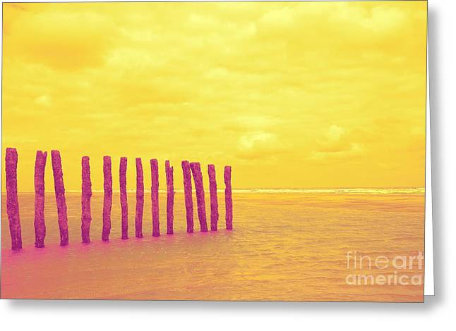 Luminous Beach Yellow Greeting Card