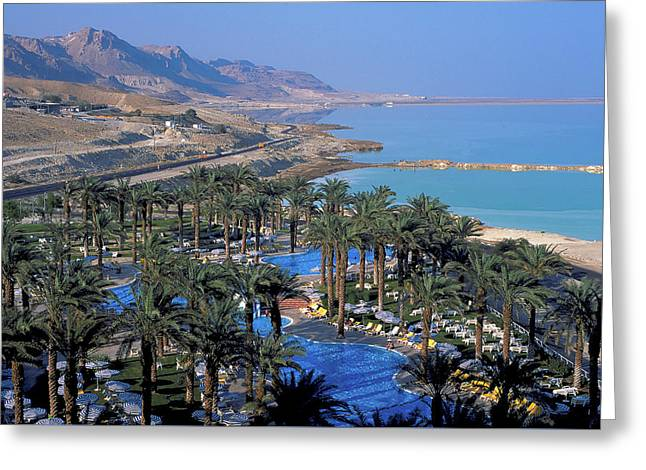 Luxury Resort On The Dead Sea Greeting Card by Carl Purcell
