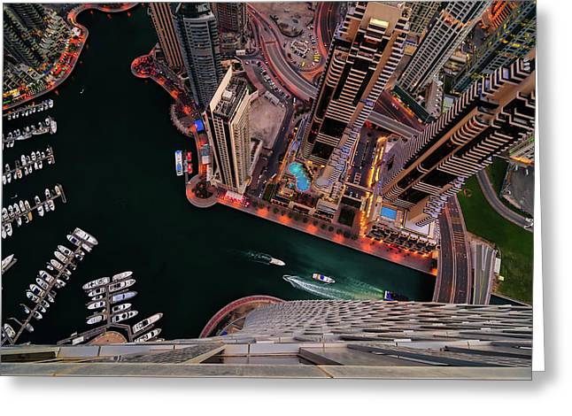 Majestic Colorful Dubai Marina Skyline During Night. Dubai Marina, United Arab Emirates. Greeting Card