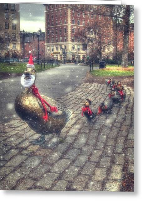 Greeting Card featuring the photograph Make Way For Ducklings - Boston Public Garden by Joann Vitali
