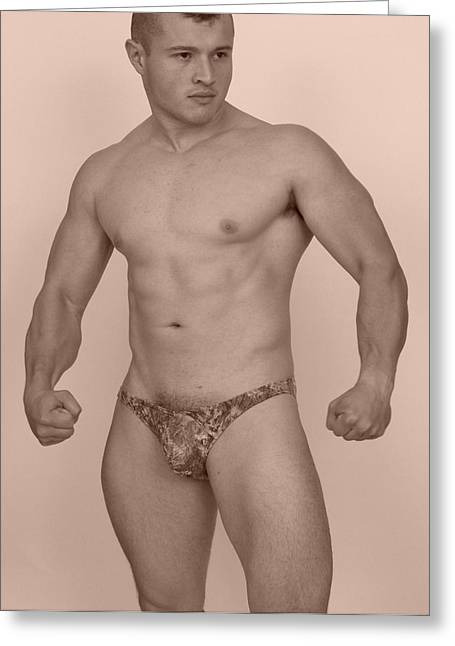 Male Muscle Greeting Card by Jake Hartz