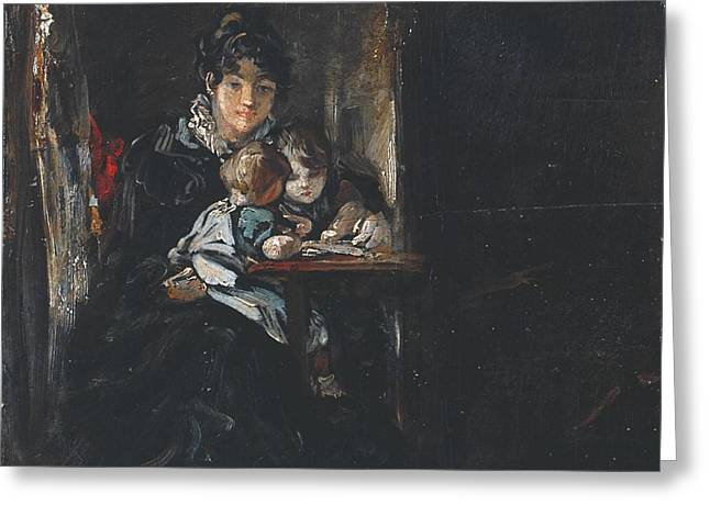 Maria Constable With Two Of Her Children Greeting Card by John Constable