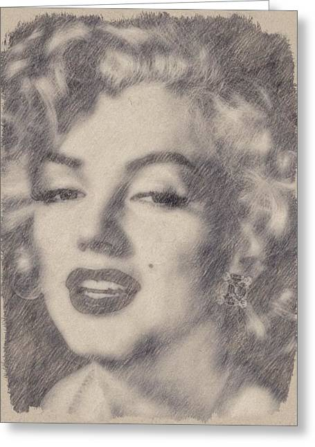 Marilyn Monroe By John Springfield Greeting Card by John Springfield