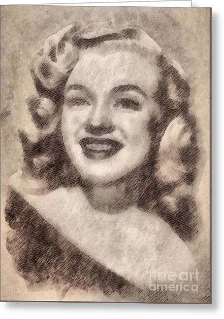 Marilyn Monroe Vintage Hollywood Actress Greeting Card by John Springfield