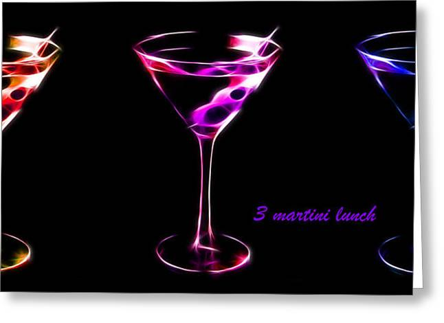 Booze Greeting Cards - 3 Martini Lunch Greeting Card by Wingsdomain Art and Photography