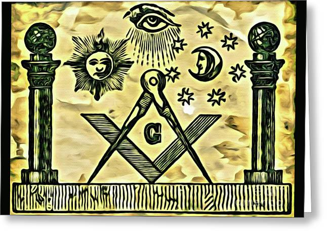 Masonic Symbolism Reworked Greeting Card