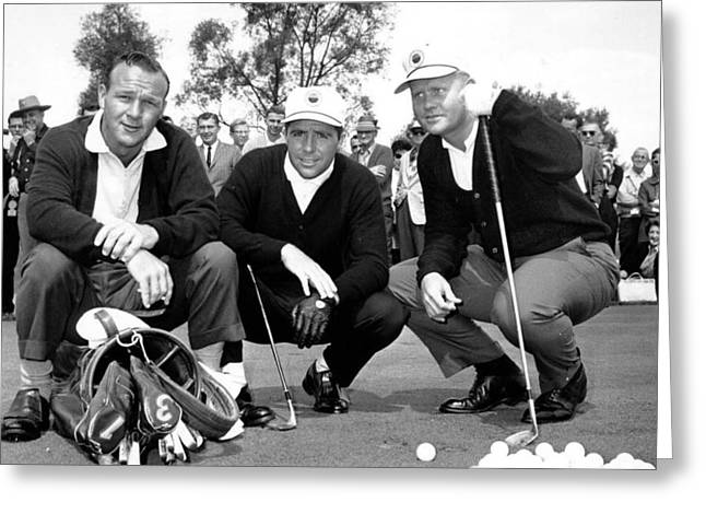 3 Master Champions Augusta National Jack Nicklaus Gary Player Arnold Palmer Reprint Greeting Card