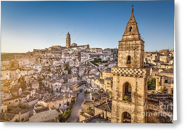 Matera Sunrise Greeting Card by JR Photography