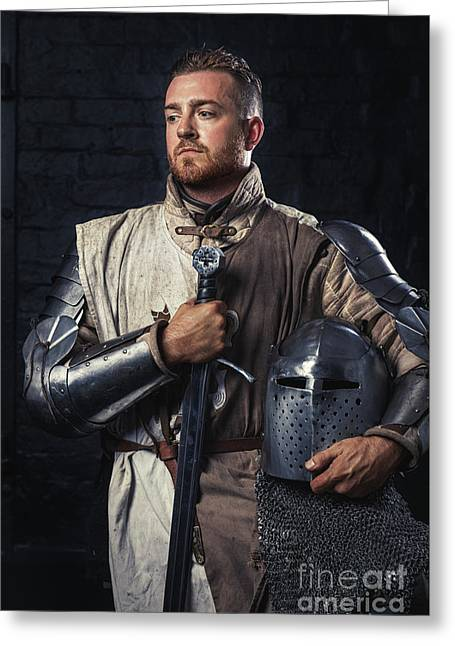 Medieval Knight In Armour Greeting Card by Amanda Elwell