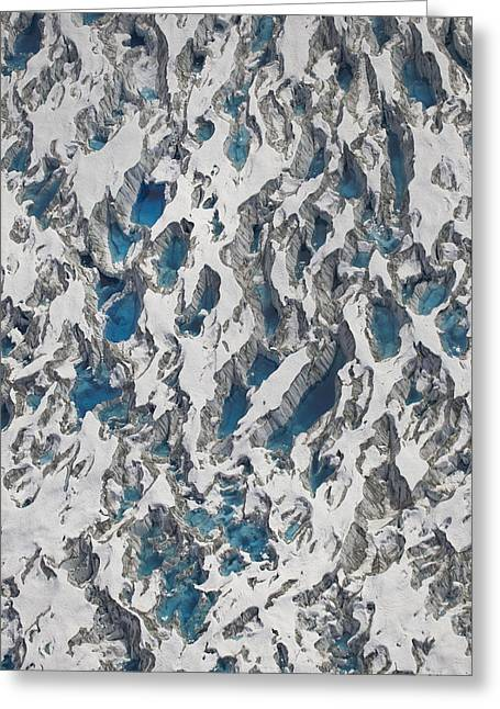 Crevasses Greeting Cards - Meltwater Lakes On Hubbard Glacier Greeting Card by Matthias Breiter
