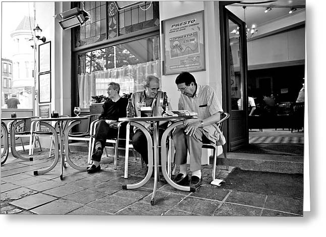 3 Men Brussels 2009 Greeting Card by Mark Chevalier