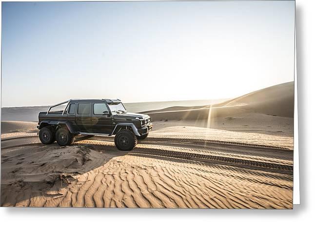Mercedes G63 6x6 In Oman Desert Greeting Card