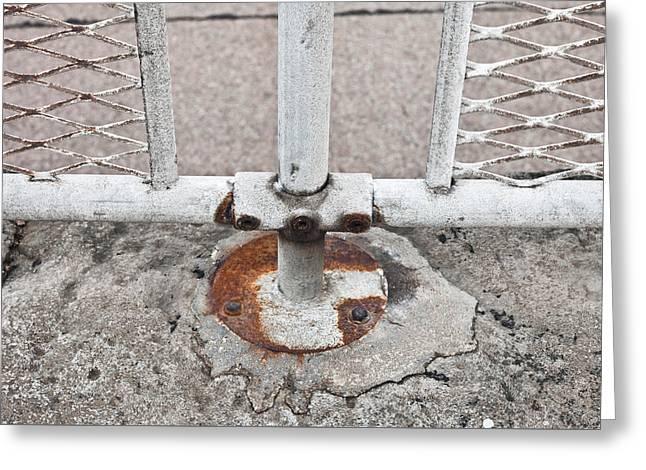 Metal Fence Greeting Card by Tom Gowanlock