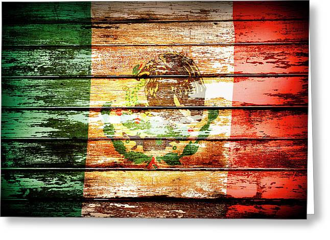 Mexican Flag Greeting Card by Les Cunliffe