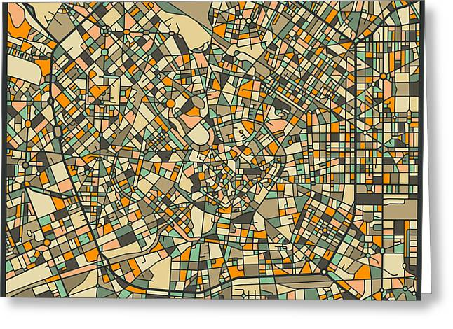 Milan Map Greeting Card by Jazzberry Blue