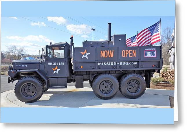 Mission Bbq Army Truck Greeting Card by Anthony Schafer