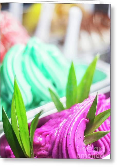 Mixed Colourful Gourmet Ice Cream Sweet Gelato In Shop Display Greeting Card by Jacek Malipan