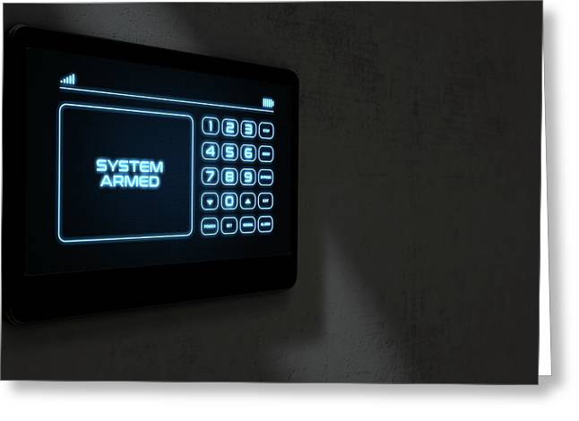Modern Interactive Home Security Greeting Card by Allan Swart