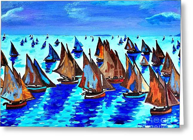 Monet Fishing Boats Calm Seas Greeting Card by Scott D Van Osdol