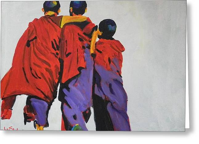 3 Monk Boys Greeting Card