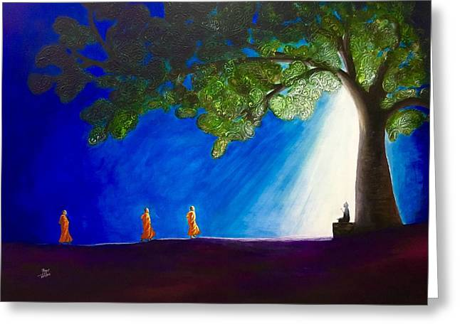 3 Monks And Meditating Buddha Greeting Card by Aarti Bartake