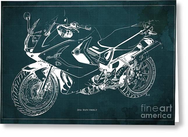 Motorcycle Bmw F800gt 2016 Blueprint Original Artwork Greeting Card