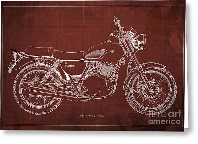 Motorcycle Suzuki Tu250x 2013 Blueprint, Poster For Men Cave Greeting Card