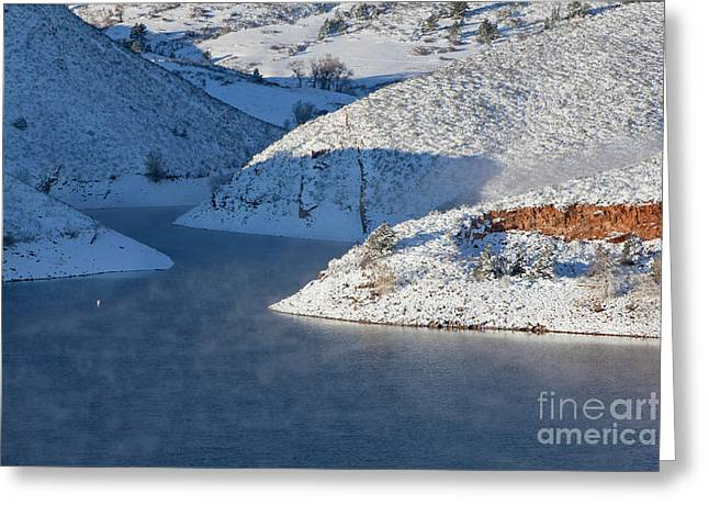 Mountain Lake In Winter Greeting Card