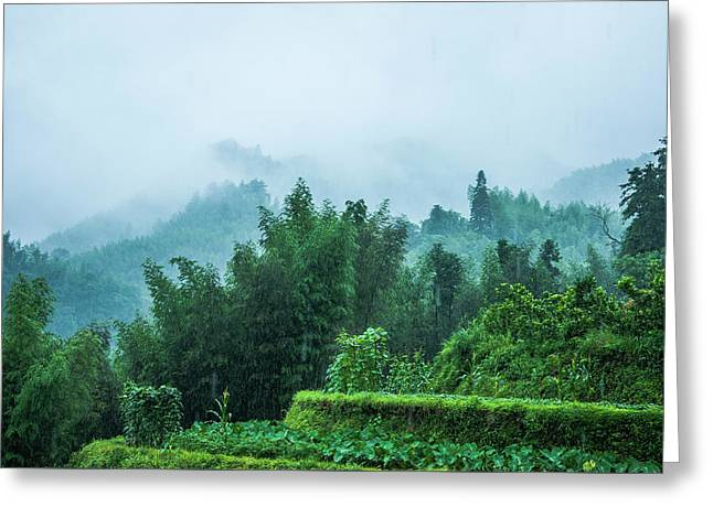 Greeting Card featuring the photograph Mountains Scenery In The Mist by Carl Ning
