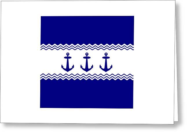 3 Navy Blue And White Coastal Decor Anchors Greeting Card
