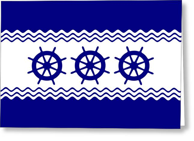 3 Navy Blue And White Coastal Decor Ship Wheels Greeting Card