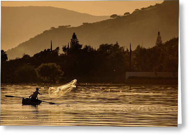 Net Fishing At Sunset Greeting Card by Dane Strom