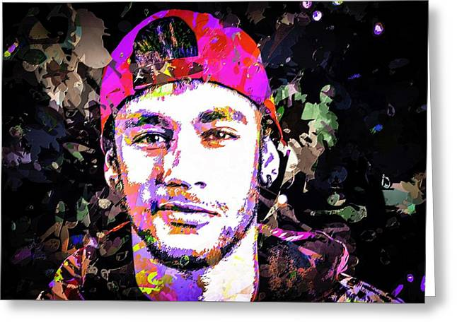 Neymar Greeting Card by Svelby Art