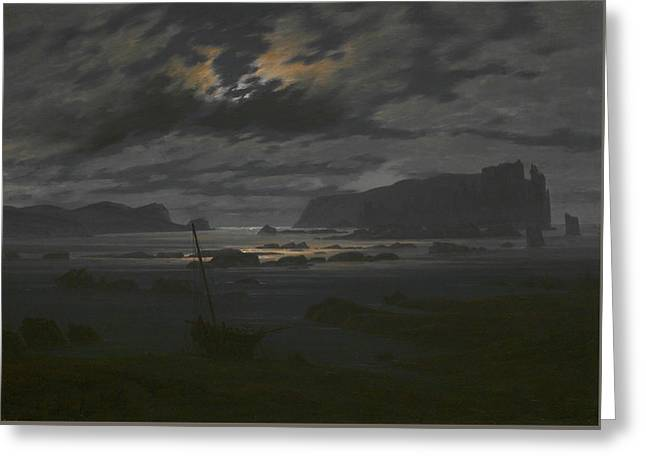 Northern Sea In The Moonlight Greeting Card