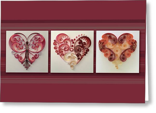 3 Of Hearts Collage Horizontal Greeting Card by Felecia Dennis
