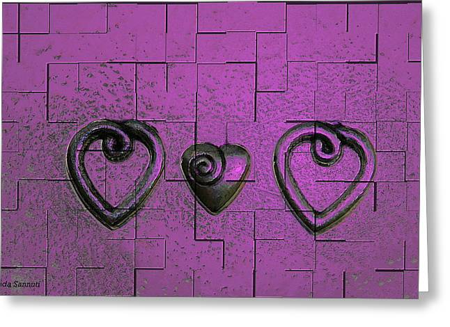 3 Of Hearts Greeting Card by Linda Sannuti