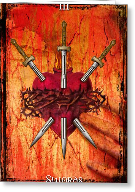 3 Of Swords Greeting Card by Tammy Wetzel