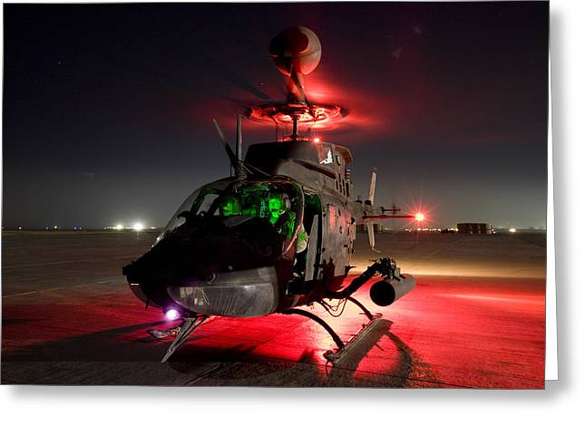 Helipad Greeting Cards - Oh-58d Kiowa Pilots Run Greeting Card by Terry Moore