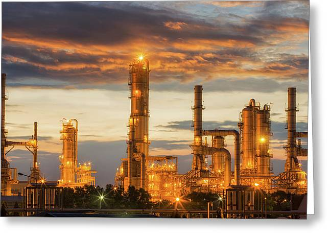 Oil Refinery Factory Greeting Card by Anek Suwannaphoom