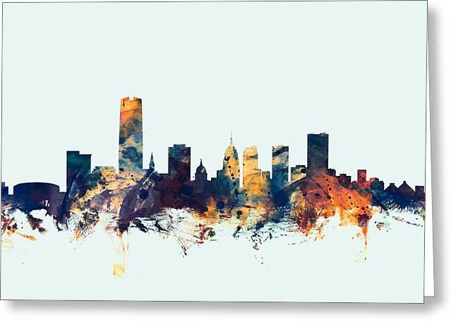 Oklahoma City Skyline Greeting Card by Michael Tompsett