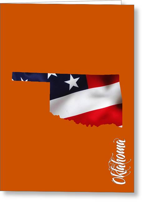 Oklahoma State Map Collection Greeting Card by Marvin Blaine