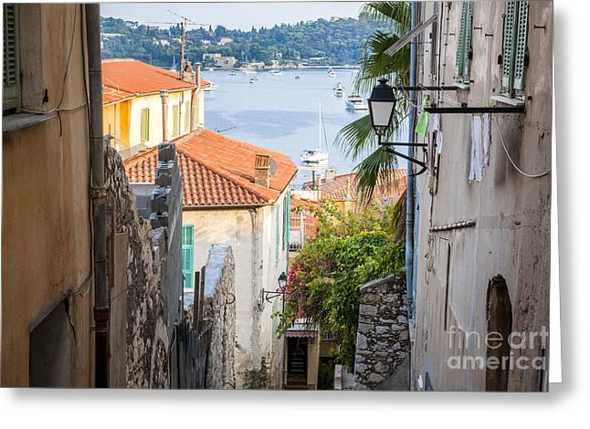 Old Street In Villefranche-sur-mer Greeting Card