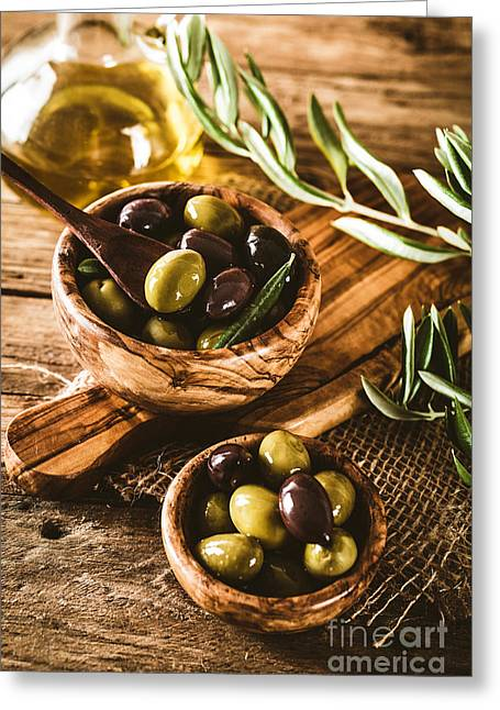 Olives On Branch Greeting Card by Mythja Photography