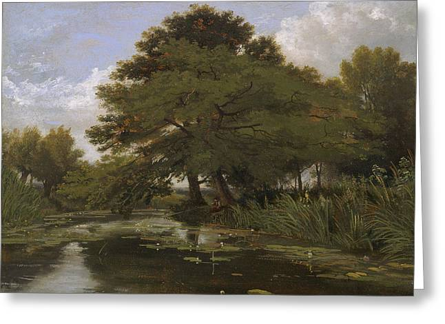 On The Isis, Waterperry, Oxfordshire Greeting Card by William Alfred Delamotte