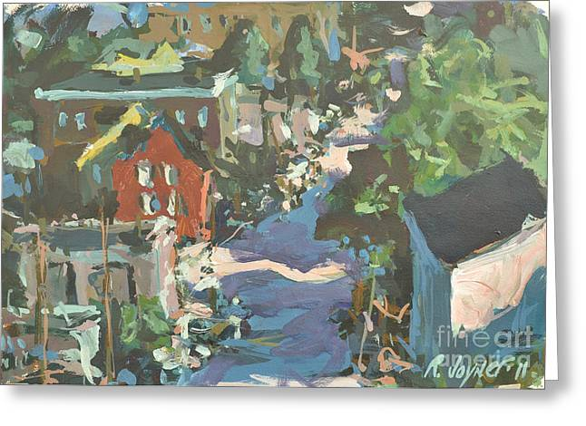 Greeting Card featuring the painting Original Contemporary Urban Painting Featuring Richmond Virginia by Robert Joyner
