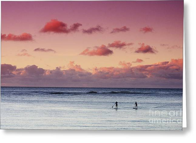 Paddlers At Sunset Greeting Card by Vince Cavataio - Printscapes