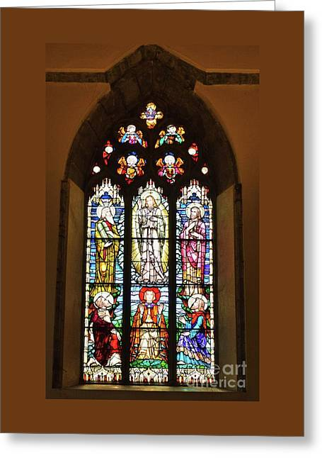 3 Pane Stained Glass In St. Nicholas Church, Galway Greeting Card by Poet's Eye