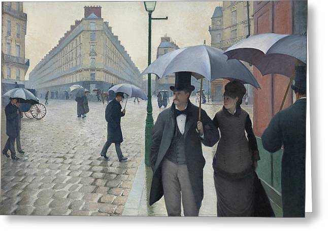 Paris Street, Rainy Day Greeting Card by Gustave Caillebotte
