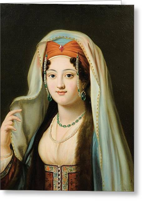 Paris Young Woman In Traditional Dress Ottoman Greeting Card by Charles Francis