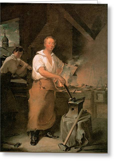 Pat Lyon At The Forge  Greeting Card by John Neagle